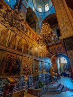 Россия. Великий Новгород. Софийский собор. Ornate decorated interior of the Russian orthodox St. Sophia Cathedral, founded in 1050. Фото Igor-SPb - Deposit