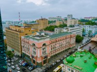 Россия. Владивосток. A historic pink building in the center of Vladivostok. Russia. Фото PrimDiscovery - Depositphotos