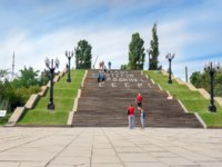Россия. Город-герой Волгоград. Large staircase on Mamayev Kurgan in Volgograd. Фото ElenaOdareeva - Depositphotos