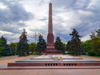 Россия. Город-герой Волгоград. Obelisk and Eternal flame on Square of Fallen Fighters. Volgograd. Фото ElenaOdareeva - Depositphotos