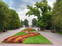 Россия. Город-герой Волгоград. Flower bed and Memorial poplar tree on Square of Fallen Fighters. Volgograd. Фото ElenaOdareeva - Depositphotos