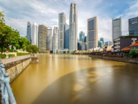 Сингапур. Business building and financial district in sunshine day at Singapore City, Singapore. Фото Southtownboy - Depositphotos