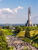 The Motherland Monument also known as Rodina-Mat', decorated with red poppy flower wreath on Victory Day, the Great Patriotic War. Kiev. Фото bozhena.melnyk-Dep