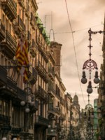 Испания. Барселона. Street in Barcelona with many streetlights. Фото  Andrejs Pidjass Depositphotos