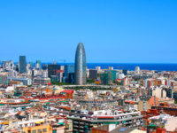 Испания. Каталония. Барселона. Panorama of Barcelona, Spain. Panorama of Barcelona, Spain. Фото Aleksandrs Kosarevs Depositphotos