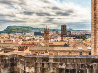 Испания. Каталония. Барселона. Panoramic view from the top of Barcelona Cathedral, Catalonia, Spain. Фото marcorubino - Depositphotos