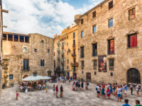 Испания. Каталония. Барселона. Scenic view of Placa del Rei, Barcelona, Catalonia, Spain. Фото marcorubino - Depositphotos
